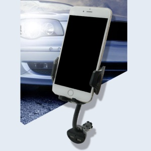 CE/FCC/ROHS Dual USB Car Charger Mount Holder for iPhone Samsung LG Sony Etc, Width: 5.5 - 10.1cm