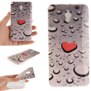 Patterned IMD TPU Jelly Back Case for ZTE Blade V7 - Red Heart and Raindrop