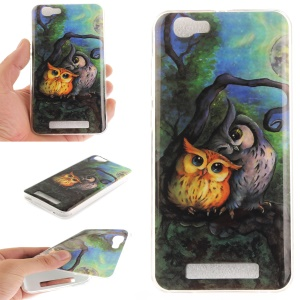 For ZTE Blade A610 IMD Patterned TPU Soft Mobile Case - Two Owls on Branch