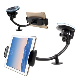 "Universal Rotary Gooseneck Suction Cup Car Mount Tablet Holder for iPad Air 2 etc. 7-15"" Tablets - Black"