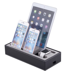 Multifunctional Leather Charging Stand Holder for Apple Watch iPhone iPad Tablet