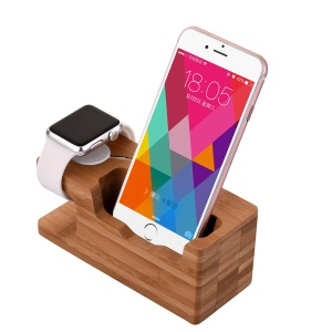 Multi-function Bamboo Desktop Charging Stent for Apple Watch iPhone Samsung Smartphone