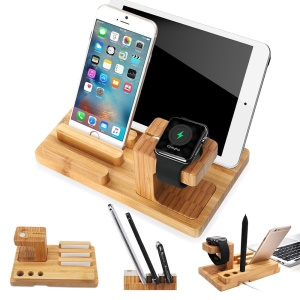 3-In-1 Bamboo Wood Charging Stand Stent Pen Holder for Apple Watch Smartphone Tablet