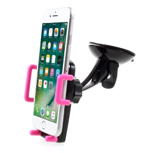2-In-1 Car Air Vent / Dashboard Suction Cup Mount Stand for iPhone 7/7 Plus, Width: 52-100mm - Rose