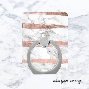 Marble Pattern Universal Metal Ring Finger Grip Holder Stand for iPhone Samsung Huawei - Style A