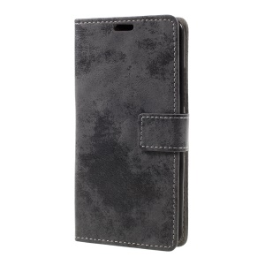 Retro Style Leather Wallet Mobile Phone Shell for ZTE Blade A602 - Grey