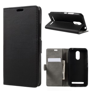 For ZTE Blade 602 Wallet Stand Leather Cell Phone Case Cover - Black