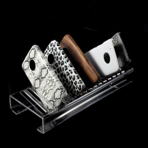 16-Slot Clear Acrylic Cellphone Cases Display Holder Stand for PC / TPU Mobile Phone Covers