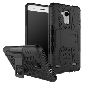 2-in-1 Tyre Pattern Kickstand PC + TPU Hybrid Case Cover for ZTE Blade V6 Plus - Black
