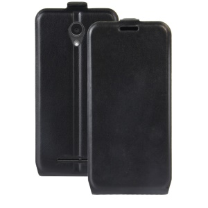 Crazy Horse Vertical Flip Leather Phone Case with Card/Photo Slot for ZTE Blade L110 - Black