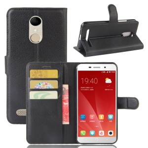 For ZTE Blade 602 Litchi Grain Leather Stand Case with Card Slots - Black