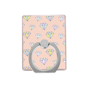 Universal Cell Phone Finger Ring Kickstand for iPhone Samsung - Pink Background / Diamond Pattern