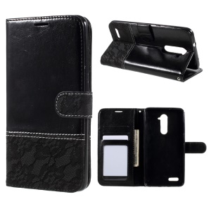 Contrast Color PU Leather Wallet Stand Mobile Casing for ZTE ZMAX Pro Z981 - Black