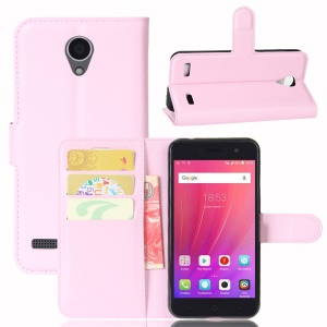 Litchi Skin Magnetic Leather Stand Case for ZTE Blade A520 - Pink
