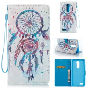 Patterned Light Spot Decor Leather Wallet Phone Casing with Lanyard for ZTE ZMAX Pro Z981 - Blue Dream Catcher