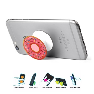 Doughnut Pattern Stretchable Cable Winder Grip Pop Mount Stand for Smartphones - Pink / with Candy Bars