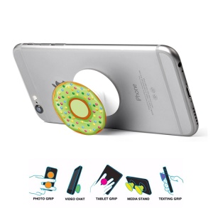 Doughnut Pattern Extendable Pop Mount Grip Holder Cable Winder for Smartphones - Green / with Color Dots