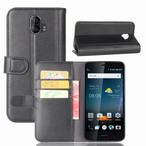 Genuine Split Leather Wallet Phone Casing Cover with Stand for ZTE Blade V8 Pro - Black
