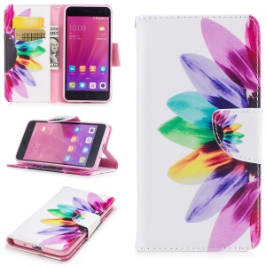 Pattern Printing Wallet Leather Wallet Mobile Casing with Stand for ZTE Blade A520 - Petals Pattern