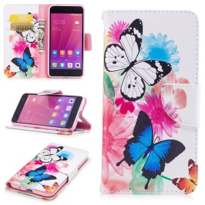 For ZTE Blade A520 Pattern Printing Wallet Leather Phone Protective Cover - Butterfly and Flowers