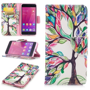 For ZTE Blade A520 Pattern Printing Wallet PU Leather Cover with Stand - Colorized Tree