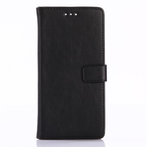 Retro Style Crazy Horse Texture PU Leather Wallet Case for ZTE Blade V8 - Black