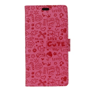 For ZTE Blade L6 Cartoon Graffiti Stand Leather Wallet Phone Casing - Rose