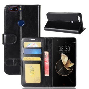 Crazy Horse Skin Stand Wallet Leather Cell Phone Case for ZTE nubia Z17 - Black
