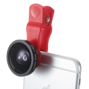 Red Universal Clip 140° 0.4X Supper Wide Angle Lens for iPhone iPad Samsung Sony Huawei Etc.