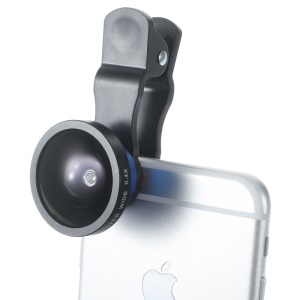 Blue Universal Clip 140° 0.4X Supper Wide Angle Lens for iPhone iPad Samsung Sony Huawei Etc.