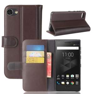Genuine Split Leather Wallet Stand Mobile Casing for BlackBerry Motion - Brown