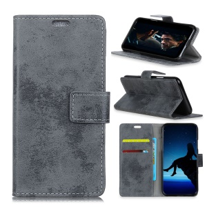 Vintage Style Leather Wallet Case for BlackBerry Key2 - Grey