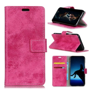 Vintage Style PU Leather Case with Wallet Stand (Inner PC Case) for BlackBerry KEY2 LE - Rose