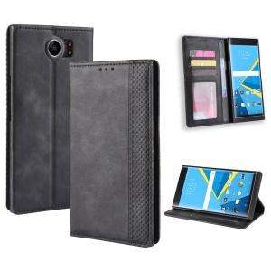 Vintage Style PU Leather Mobile Phone Case Accessory for BlackBerry Priv - Black