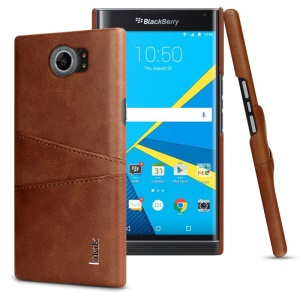 IMAK Ruiyi Series Leather Skin Plastic Phone Shell with Card Holder for BlackBerry Priv/Venice - Brown