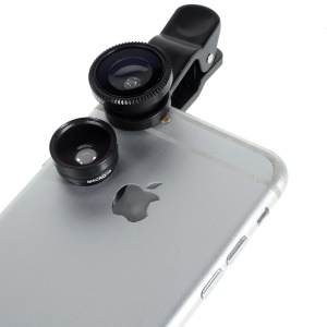 Universal Clip 3 in 1 Fisheye-lens & Wide-angle & Macro Lens Kit for iPhone / iPad / Samsung / HTC - Black