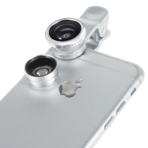 Universal Clip 3 in 1 Fisheye-lens & Wide-angle & Macro Lens Kit for iPhone / iPad / Samsung / HTC - Silver