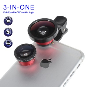 LIEQI LQ-003 3 in 1 Universal Clip Super Wide Angle + Macro Lens + Fish Eye Lens for iPhone 6 Samsung HTC - Red