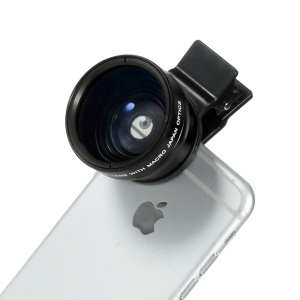 37MM High Definition 0.45X Wide Angle + Macro Lens for iPhone Samsung Smartphone Camera - Black
