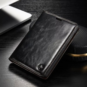 CASEME for BlackBerry Passport Silver Edition Oil Wax Leather Flip Case - Black
