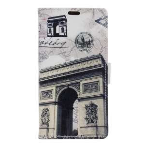 Diary Style Leather Wallet Stand Case for BlackBerry Priv - Triumphal Arch and Map