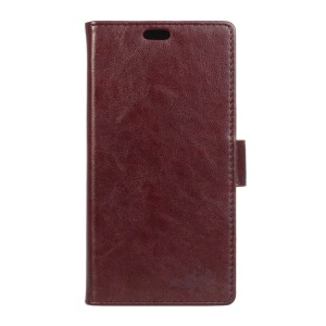 Crazy Horse Leather Stand Cover for BlackBerry DTEK50 / Neon - Brown