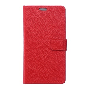 Litchi Texture Genuine Leather Wallet Shell for BlackBerry DTEK50 / Neon - Red