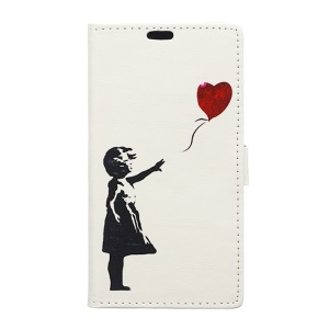 Illustration Stand Leather Wallet Cover for BlackBerry DTEK50 / Neon - Girl Releasing the Balloon