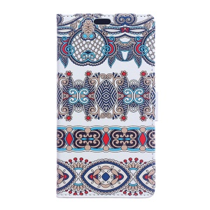 Diary Style Leather Wallet Stand Shell for BlackBerry DTEK50 / Neon - Arabic Floral Pattern