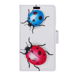 Leather Wallet Magnetic Case for BlackBerry DTEK50 / Neon - Colorized Ladybugs