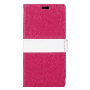 Contrast Color Leather Cover Wallet Stand for BlackBerry DTEK50 / Neon - Rose