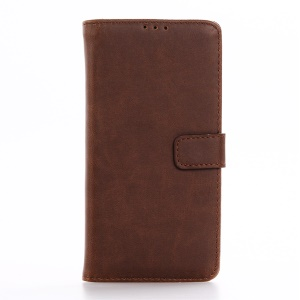Retro Folio Crazy Horse Leather Wallet Shell for BlackBerry DTEK50 - Coffee