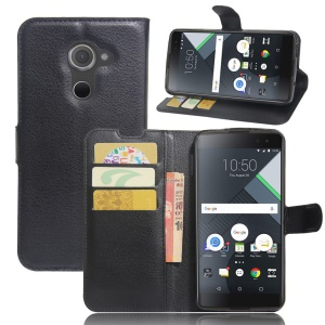 Lychee Grain Wallet Leather Phone Case with Stand for BlackBerry DTEK60 - Black