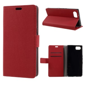 Wallet Leather Stand Cell Phone Case for BlackBerry Keyone - Red